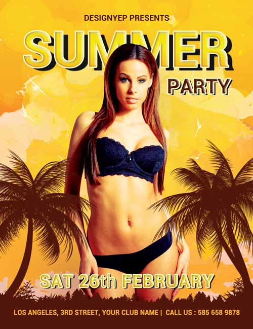 Summer Party Free Flyer PSD Template