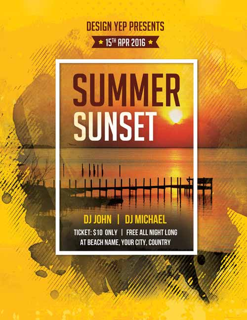 Summer Sunset Beach Party Free PSD Flyer Template