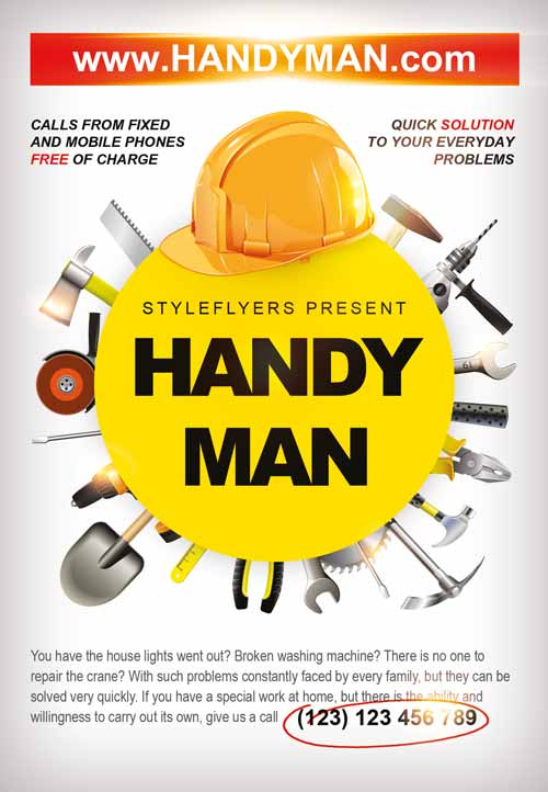 Freepsdflyer Download The Handyman Business Flyer Template For