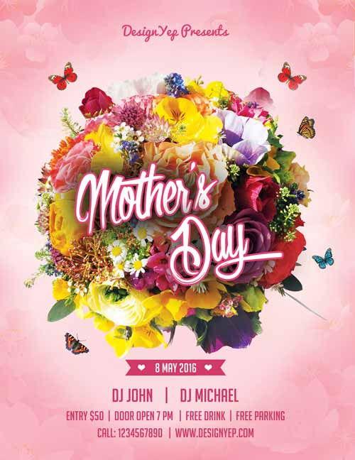 Lovely Happy Mothers Day Free Flyer PSD Template Idea
