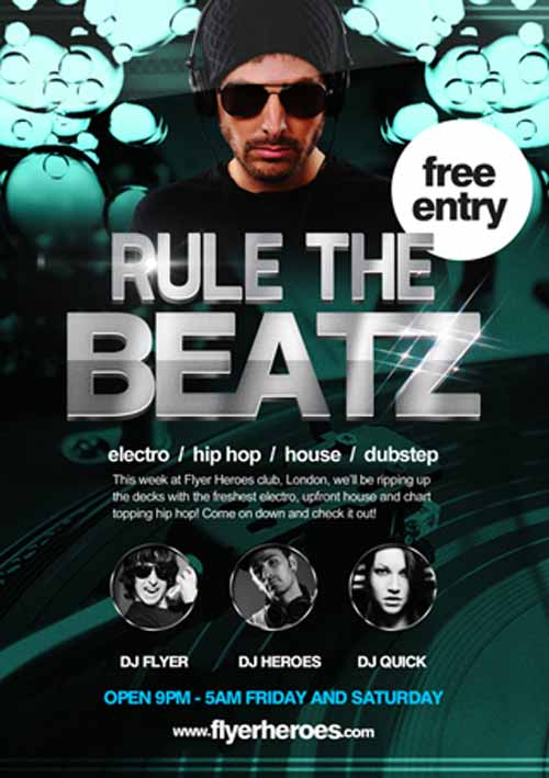 Rule the Beats Free Flyer Template