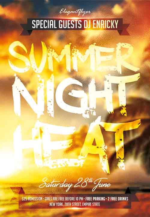 Summer Night Heat Free PSD Flyer Template
