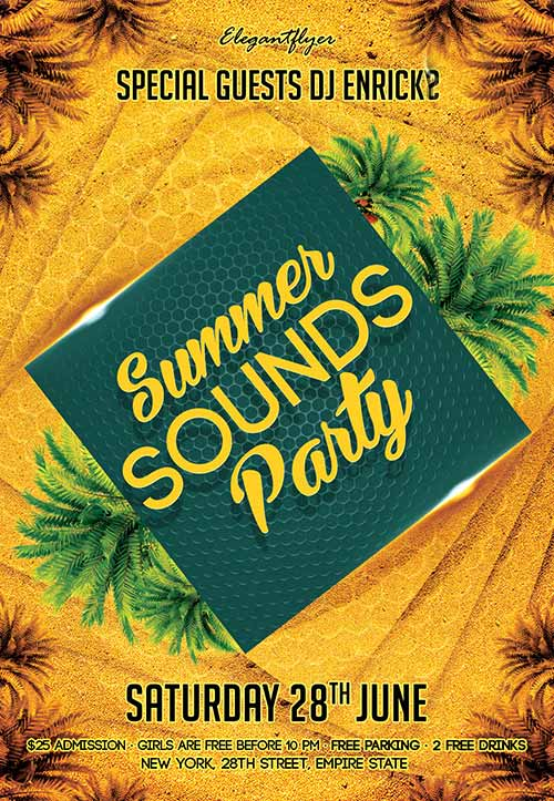 Summer Sounds Party Free Flyer Template