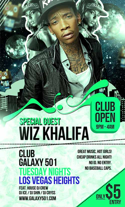 Dowload The Hip Hop Club Free Flyer Template