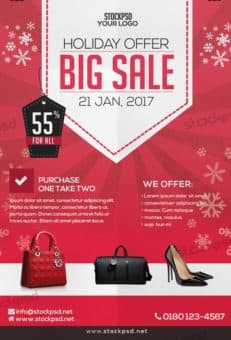 Big Holiday Sale Free PSD Flyer Template
