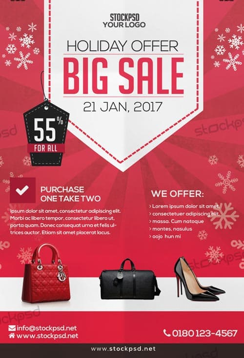 Freepsdflyer Download The Big Holiday Sale Free Psd Flyer Template