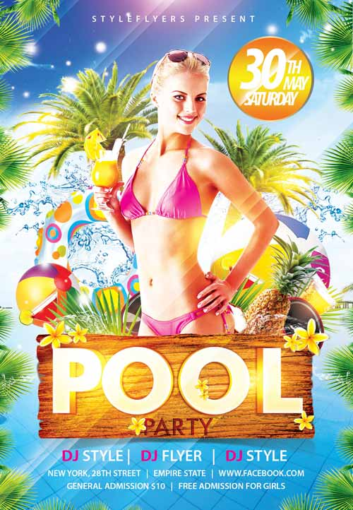 FreePSDFlyer | Download the Pool Party Free Flyer Template