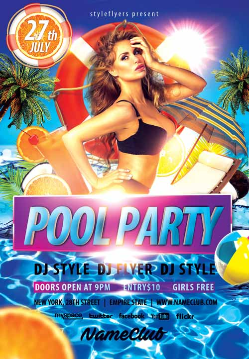 Nice Summer Pool Party Free Flyer Template