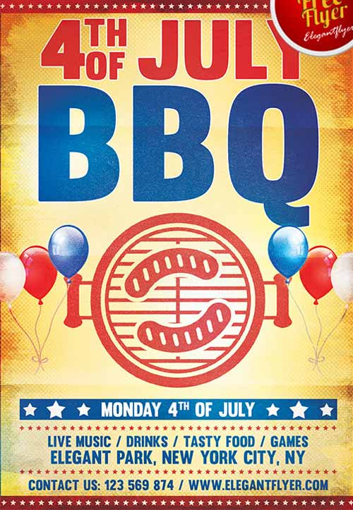 4th Of July BBQ Party Free Flyer Template