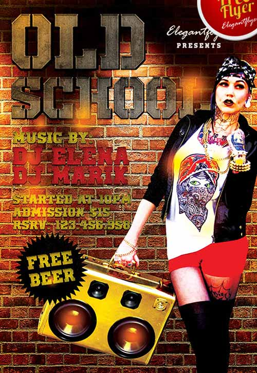 80´s Old School Party Free Flyer Template