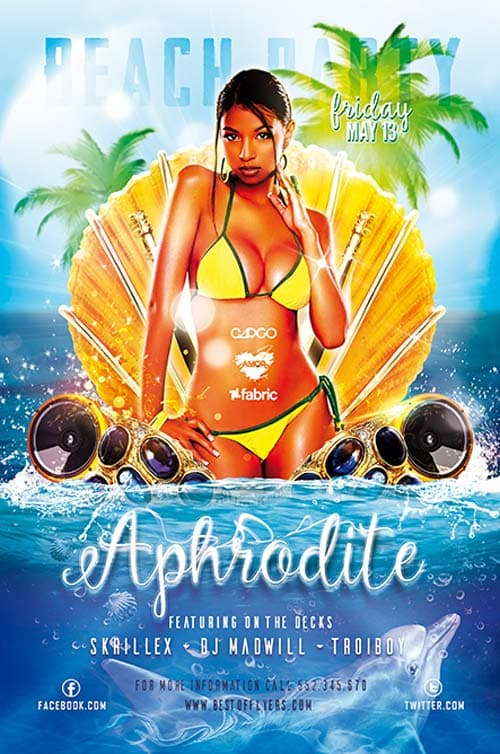 Aphrodite Beach Party Free Flyer Template Download for Photoshop – Beach Party Flyer Template