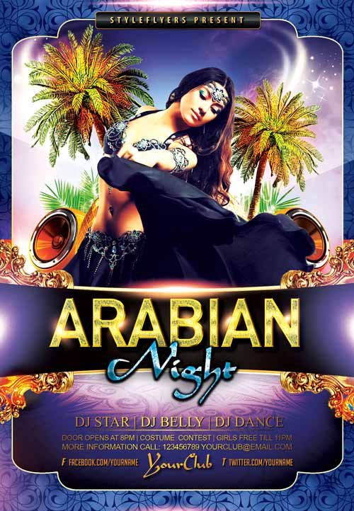 Download the Arabian Night Party Free Flyer Template