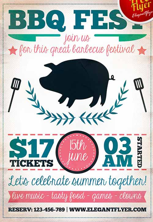 bbq fest party free flyer template