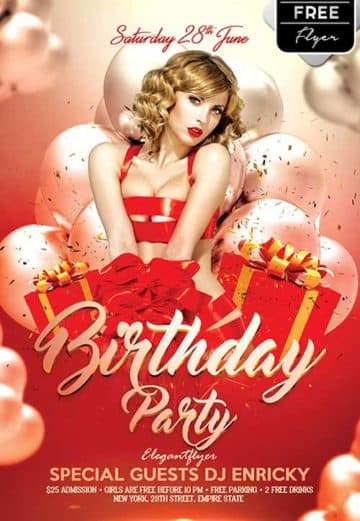 Birthday Party Free Flyer Template