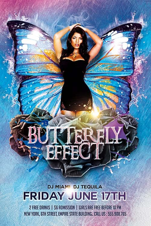 Butterfly Effect Party Free Flyer Template