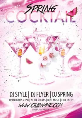 Cocktail Spring Dj Love Free Flyer Template