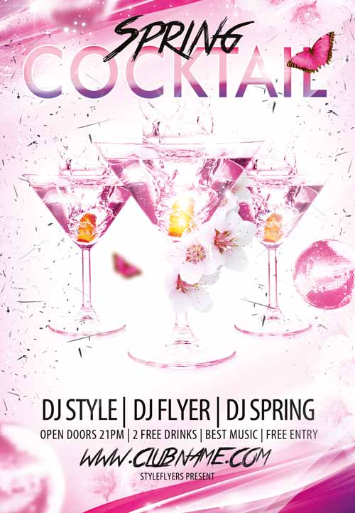 Cocktail Spring Dj Love Free Flyer Template