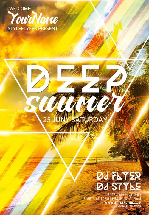 Deep Summer Electro DJ Free Flyer Template