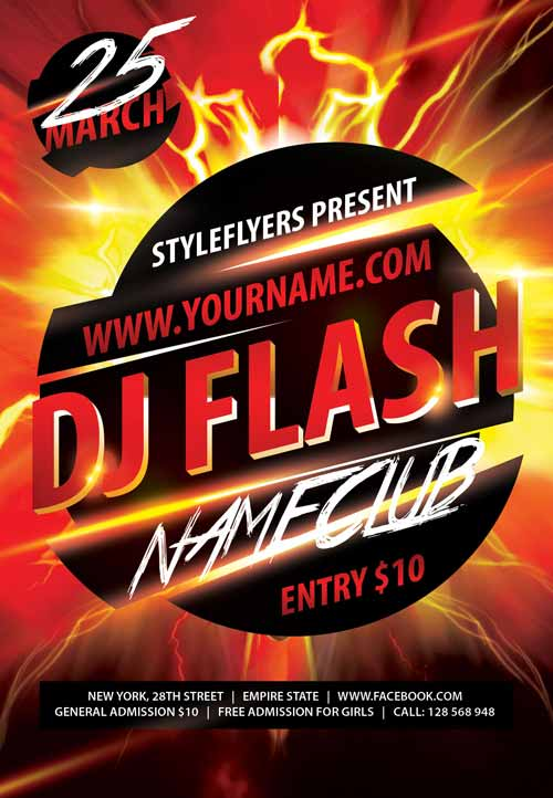 Dj flash psd flyer template free download #6648 styleflyers.