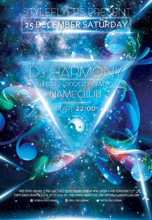 Dj Harmony Free Flyer Template  Download Free Dj Flyer Templates