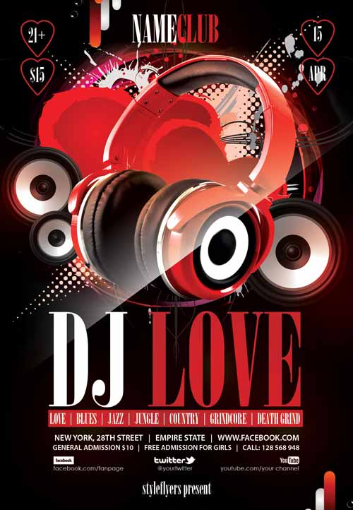 Dj Love Free Flyer Template