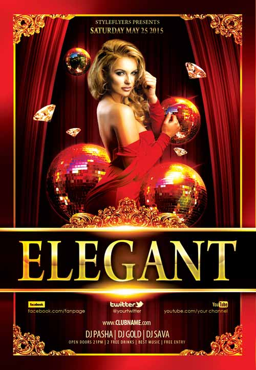 Elegant Night Party Free Flyer Template