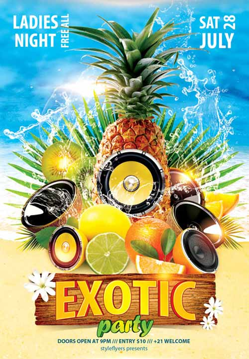 Freepsdflyer Download The Exotic Party Free Flyer Template