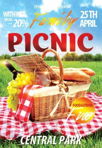 Family Picnic Free Flyer Template