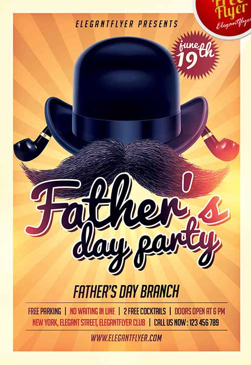 Fathers Day Party Free Flyer Template