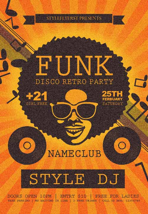 FreePSDFlyer | Download the Funk Disco Retro Party Free Flyer Template