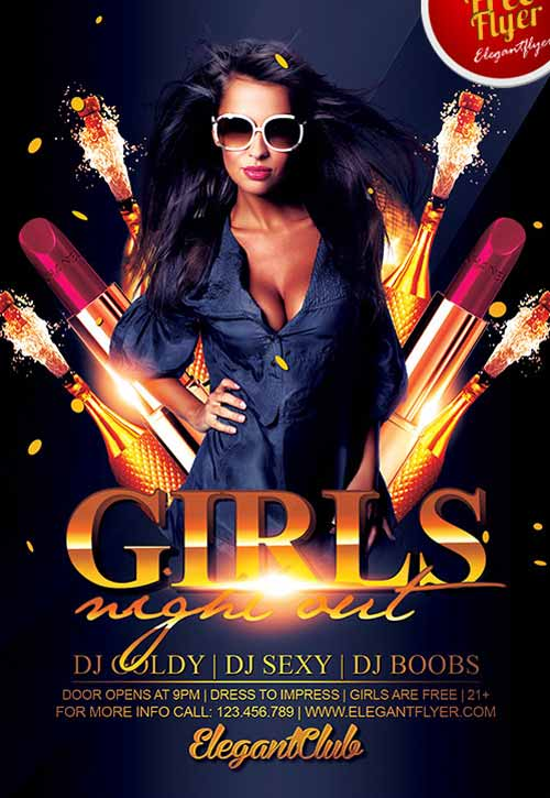 Freepsdflyer Download The Girls Night Out Party Free Flyer Template