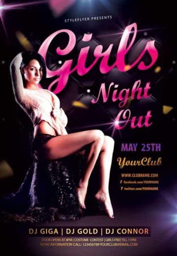 Girls Night Out Party Free Flyer Template