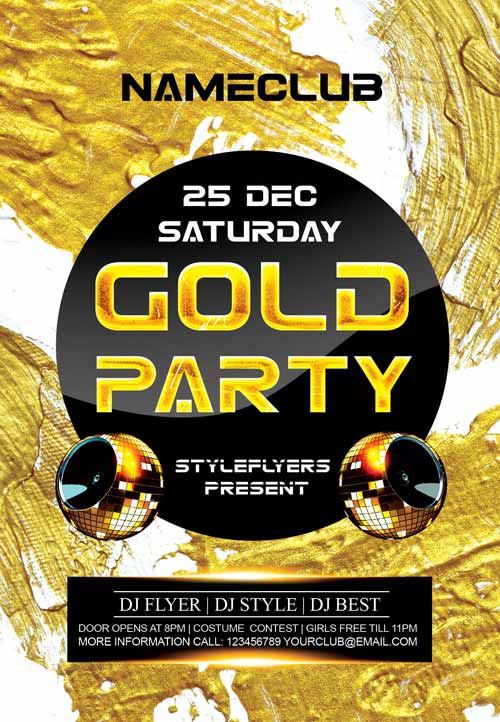 download the gold party free flyer template