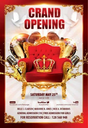 Grand Opening Party Free Flyer Template