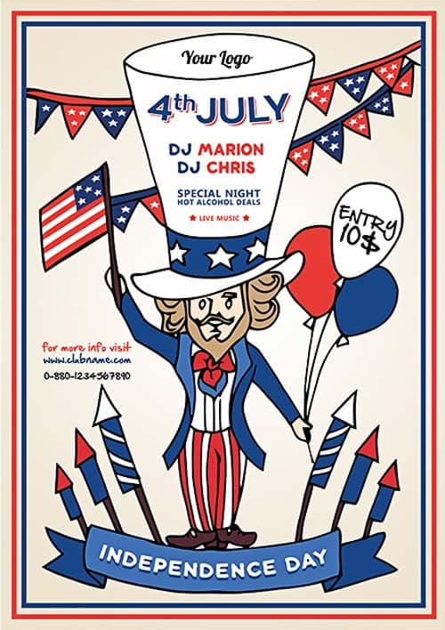 Independence Day Party Free Flyer Template Download For Photoshop