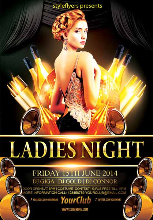 Freepsdflyer Download The Elegant Ladies Night Party Free Flyer
