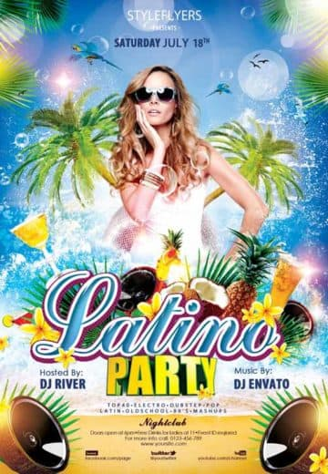 Latino Summer Party Free Flyer Template