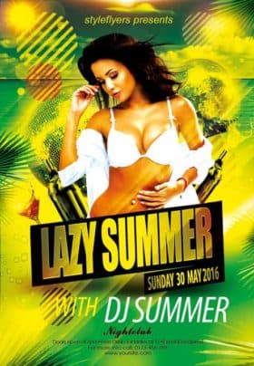Lazy Summer Party Free Flyer Template