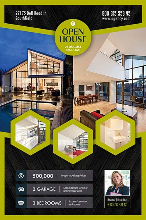 Open House Real Estate Free Flyer Template Download for Photoshop