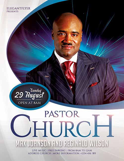 Download the pastors church free flyer template for photoshop for Religious flyers template free