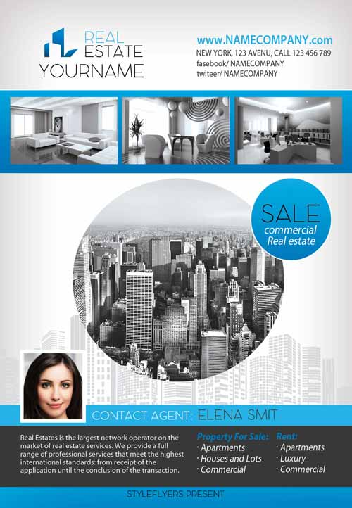 FreePSDFlyer Download The Real Estate Free Flyer Template For - Real estate agent flyer template free