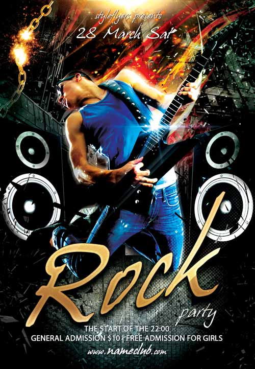 Freepsdflyer Download The Rock Party Free Flyer Template For Photoshop