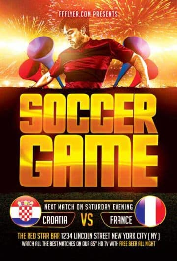 Soccer Game Free Flyer Template