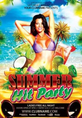 Summer Hit Party Free Flyer Template
