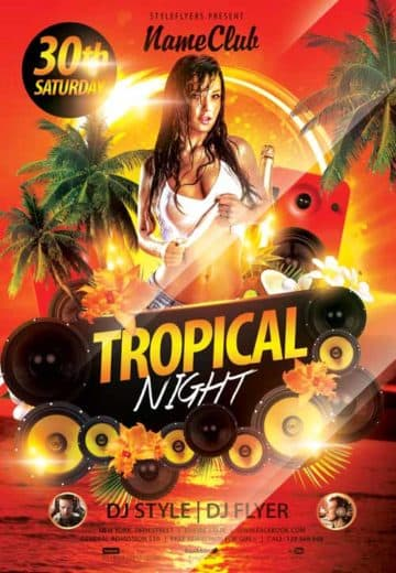 Tropical Night Free Flyer Template