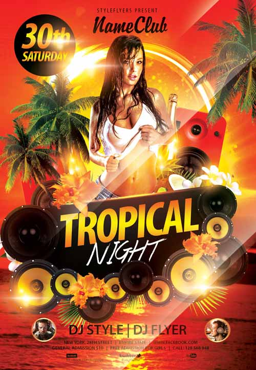 Download the tropical night free flyer template for Free nightclub flyer design templates