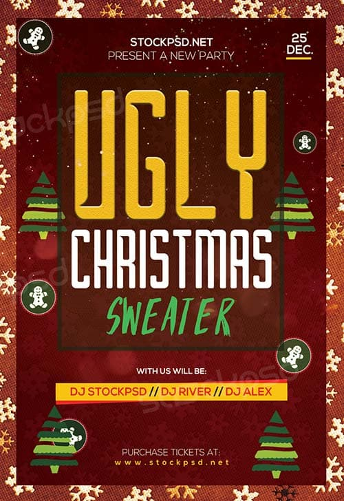 Ugly Christmas Sweater Party Free Flyer Template Download Psd