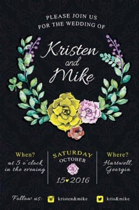 Vintage Flowers Wedding Invitation Free Flyer Template