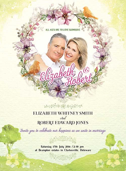 FreePSDFlyer | Wedding Invitation Free PSD Flyer Template