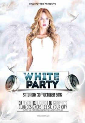 White Party Free Flyer Template